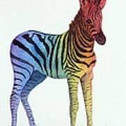 Baby Rainbow Zebra Art Print