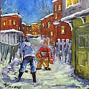 Back Lane Hockey Shoot Out By Prankearts Art Print