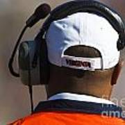 Back Of Mike London Head With Headset Virginia Cavaliers Print by Jason O Watson
