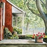 Back Porch Geraniums Art Print