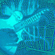 Back Porch Pickin' Pop Art In Blue Art Print