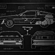 Back To The Future Delorean Blueprint 1 Art Print
