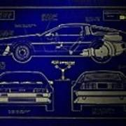 Back To The Future Delorean Blueprint 2 Art Print
