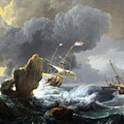 Backhuysen's Ships In Distress Off A Rocky Coast Art Print