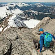 Backpacker Descending Needle Peak Art Print