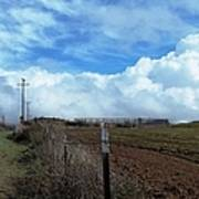 Backroads- Telephone Poles- And Barbed Wire Fences Art Print