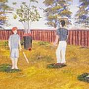 Backyard Cricket Under The Hot Australian Sun Art Print