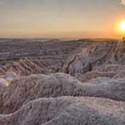 Badlands Overlook Sunset Art Print