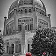 Bahai Temple Wilmette In Black And White Art Print