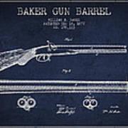 Baker Gun Barrel Patent Drawing From 1877- Navy Blue Art Print