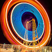 Balboa Fun Zone Ferris Wheel At Night Picture Art Print