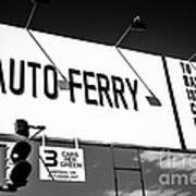 Balboa Island Ferry Sign Black And White Picture Art Print by Paul Velgos