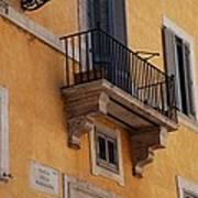Balcony Piazza Della Madallena In Roma Art Print