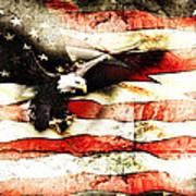 Bald Eagle Bursting Thru Flag Art Print