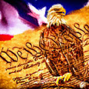 Bald Eagle With American Flag And Constitution Art Landscape Art Print