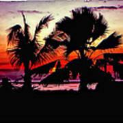 Bali Sunset Polaroid Transfer  Art Print