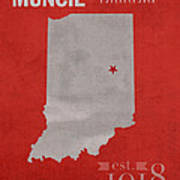 Ball State University Cardinals Muncie Indiana College Town State Map Poster Series No 017 Art Print