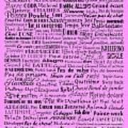 Ballet Terms Black On Pink  Art Print