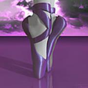 Ballet Toe Shoes Over Colorful Lavender Clouds Art Print