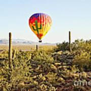Balloon Ride Over The Desert Art Print