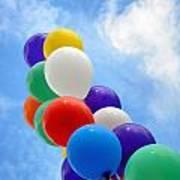 Balloons Against A Cloudy Sky Art Print