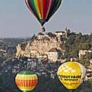 Balloons At Rocamadour Midi Pyrenees France Print by Colin and Linda McKie