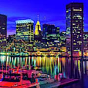 Baltimore Harbor By Night, Baltimore Art Print