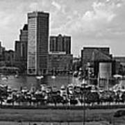 Baltimore Harbor Skyline Panorama Bw Art Print