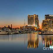 Baltimore Inner Harbor East Skyline At Dawn I Art Print