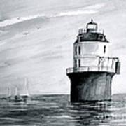 Baltimore Lighthouse In Gray  Art Print