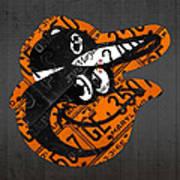 Baltimore Orioles Vintage Baseball Logo License Plate Art Art Print