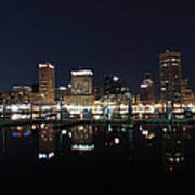 Baltimore Skyline At Night Art Print