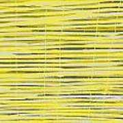 Bamboo Fence - Yellow And Gray Art Print by Saya Studios