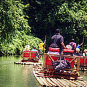 Bamboo River Rafting Art Print