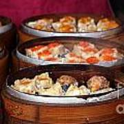 Bamboo Steamers With Dim Sum Dishes Art Print