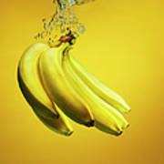 Bananas Splashed Into Water Art Print