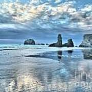 Bandon Sea Stack Reflections Art Print