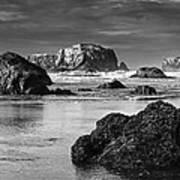 Bandon Sea Stacks Black And White Art Print