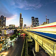 Bangkok Sky Train Rush Art Print