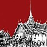 Bangkok Thailand Skyline Grand Palace - Dark Red Art Print