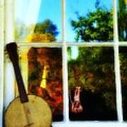 Banjo Mandolin In The Window Art Print