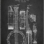 Banjo Patent Drawing From 1882 Dark Art Print