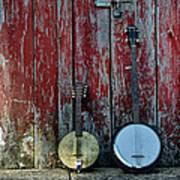 Banjos Against A Barn Door Art Print