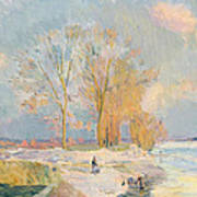 Banks Of The Seine And Vernon In Winter Art Print by Albert Charles Lebourg