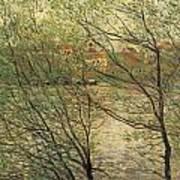 Banks Of The Seine Island Of La Grande Jatte Art Print by Claude Monet