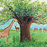 Baobab And Giraffe Art Print