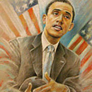 Barack Obama Taking It Easy Print by Miki De Goodaboom