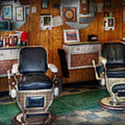Barber - Frenchtown Nj - Two Old Barber Chairs  Art Print by Mike Savad