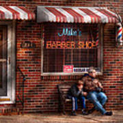 Barber - Metuchen Nj - Waiting For Mike Art Print by Mike Savad