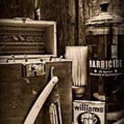 Barber - Vintage Barber Tools - Black And White Art Print